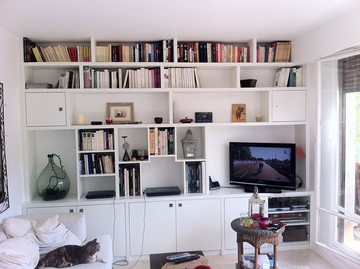 37 best mur tv images on Pinterest   Bookcase wall, Libraries and ...