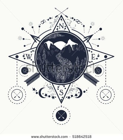 Mountain wind rose compass tattoo art. Travel, adventure, outdoors, meditation symbol. Road in the mountains. Tattoo for camping, tracking and hiking