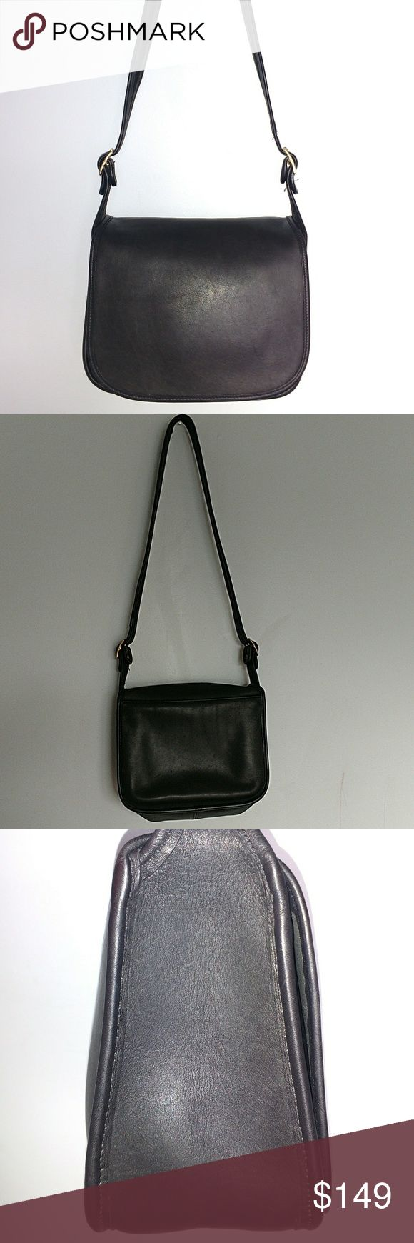 """Vintage COACH classic pouch saddle bag In great used condition with no tears! It has a slip pocket under the flap in front and a zippered pocket inside. Unlined suede interior with no stains. Measures approximately 10 X 9 X 4. Adjustable shoulder strap with 4 settings. Maximum strap drop is 18"""". 100% glove tanned leather with gold brass hardware. Cleaned and conditioned and ready to be used. Coach Bags Shoulder Bags"""