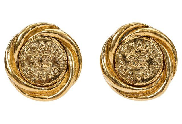Chanel Gold Logo Earrings, 1993