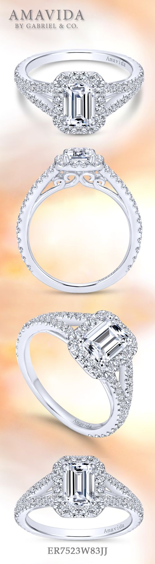 Amavida by Gabriel & Co. - Voted #1 Most Preferred Bridal Brand.   Chic and contemporary to describe this white gold emerald cut engagement ring.