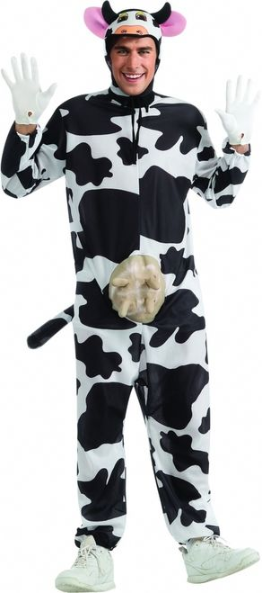 Funny Cow Halloween Costume - This is a Comical Cow costume. This crazy animal just escaped the barnyard. This is a two-piece costume with a jumpsuit and bonnet. The jumpsuit is lightweight, soft and comfortable to wear. The long sleeves have elasticized cuffs as do the bottom of the pants. The jumpsuit has an attached tail and molded plastic udder. The back of the suit opens up to put it on and ties up to close it. #cow #funny #mens #costume #yyc #calgary