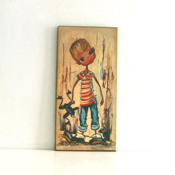 Vintage Big Eyed Art Wall Hanging Plaque - The Gift of Love by M. Hartnett via Etsy