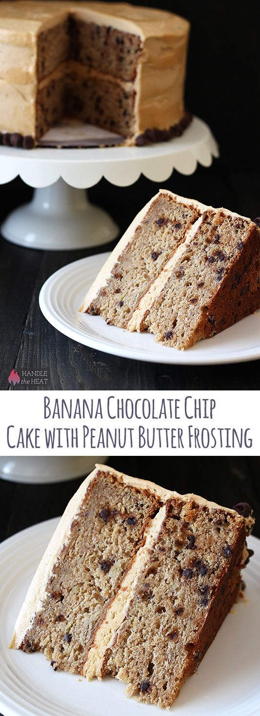 Banana Chocolate Chip Cake with Peanut Butter Frosting - our favorite cake recipe!