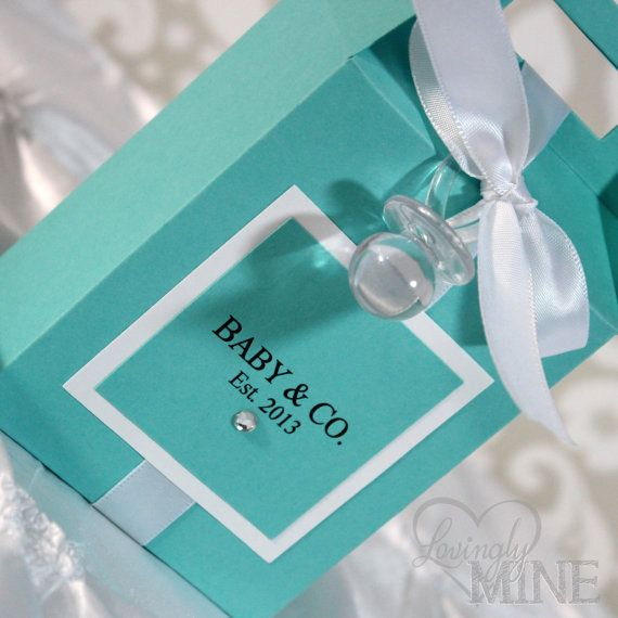 Baby Shower Favors - Tiffany & Co. Inspired Gable Box - 1 Dozen on Etsy, $27.00