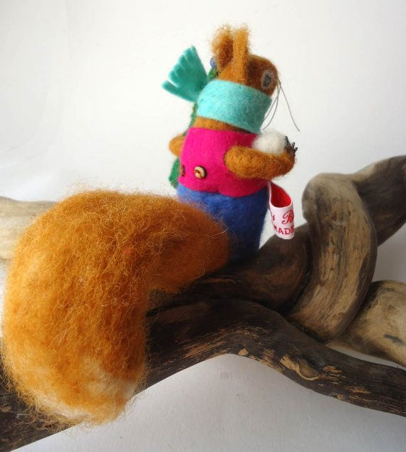 Needle felted Animal Red Squirrel with Small Fur Tree