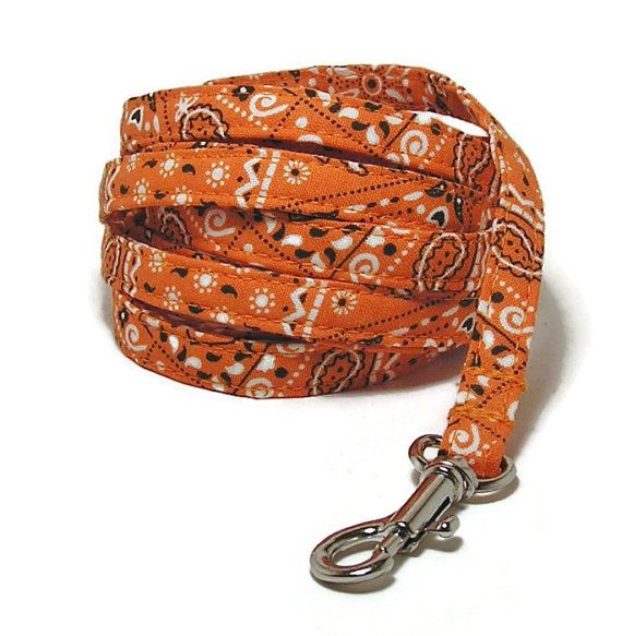 XS Leash  Orange Bandana   3/8 wide XS 4 or 6 Feet by PawsnTails, $23.00