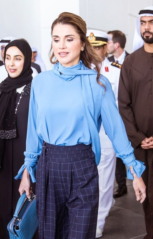 9 February 2018 - State visit to Abu Dhabi - blouse by Marni, shoes by Sergio Rossi, bag by Fendi