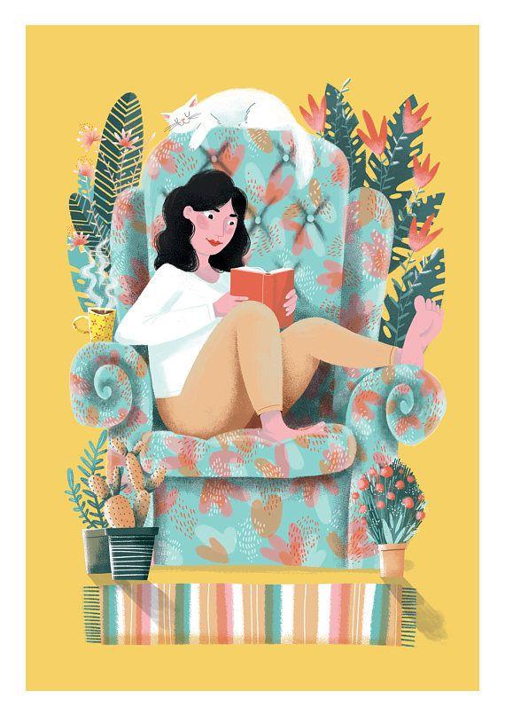Bookworm wall art Cat print Book lover art Girl Reading