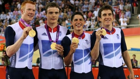 Gold in the Men's Team Pursuit - Ed Clancy, Steven Burke, Peter Kennaugh and Geraint Thomas.