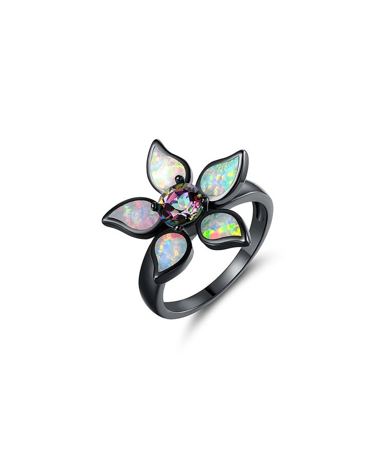 Take a look at this Black Rhodium Topaz & Fire Opal Flower Ring today!