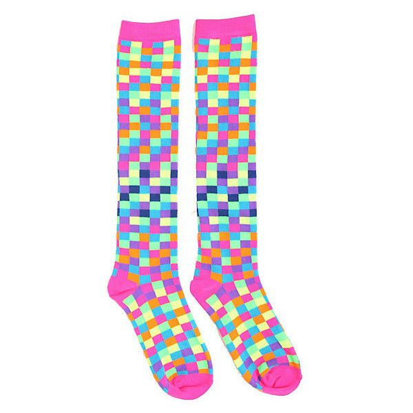 Neon Rainbow Checkered Knee-High Socks | Hot Topic (18 MXN) ❤ liked on Polyvore featuring intimates, hosiery, socks, knee-high socks, hot topic, neon knee socks, rainbow socks and rainbow knee high socks