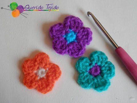 Flor 5 petalos a crochet - How to crochet a 5 petal flower ENGLISH SUB - YouTube