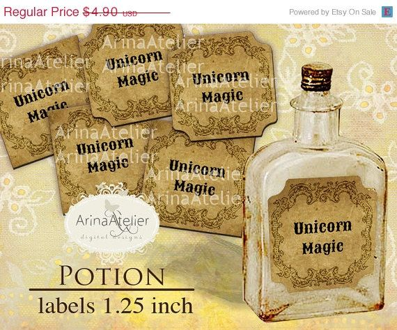 SALE 30% OFF  Potion Labels 1.25 inch  by arinaatelierDigital