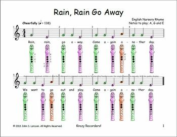 "Free Recorder Music ""Rain, Rain Go Away"" Sheet Music"