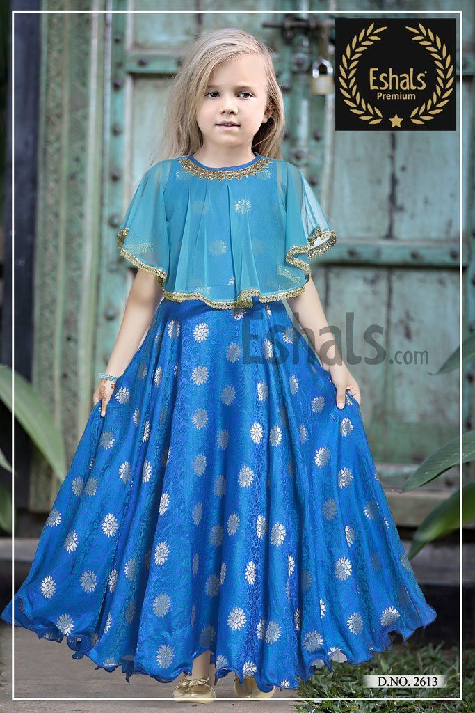 3a0c96293372 Eshals Skyblue Gown - 2613   Baby Girls Dress in 2019   Kids gown ...