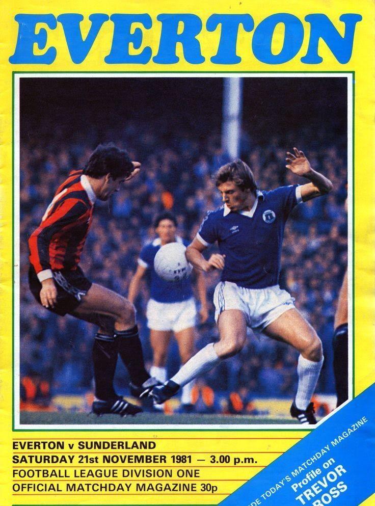 Everton 1 Sunderland 2 in Nov 1981 at Goodison Park. The programme cover #Div1
