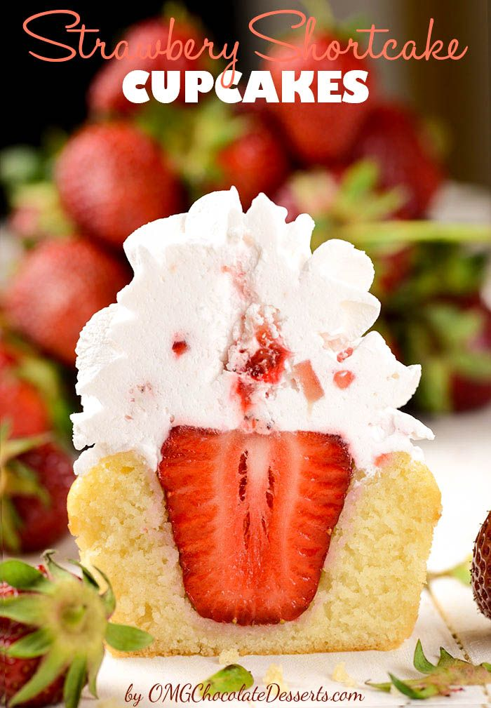Strawberry Shortcake Cupcakes - famous strawberry cake in form of delicious cupcakes. Cupcakes have a strawberry in the middle,…