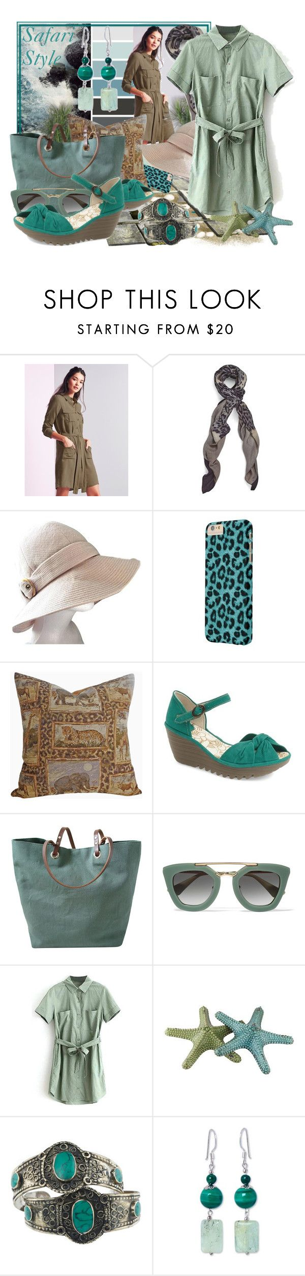 """Safari Style 11"" by tasha1973 ❤ liked on Polyvore featuring Lipsy, Yves Saint Laurent, Fly LONDON, Independent Reign, Prada, Crestview Collection, Rock 'N Rose and NOVICA"