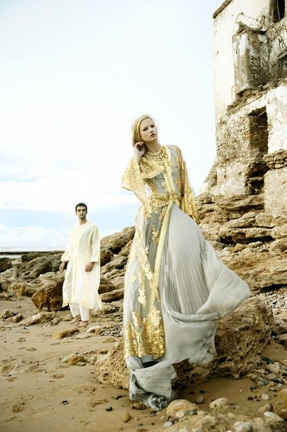 Gorgeous gold overlay atop a sheer chiffon kaftan on this traditional Moroccan wedding gown [photo by Nigel Barker]....