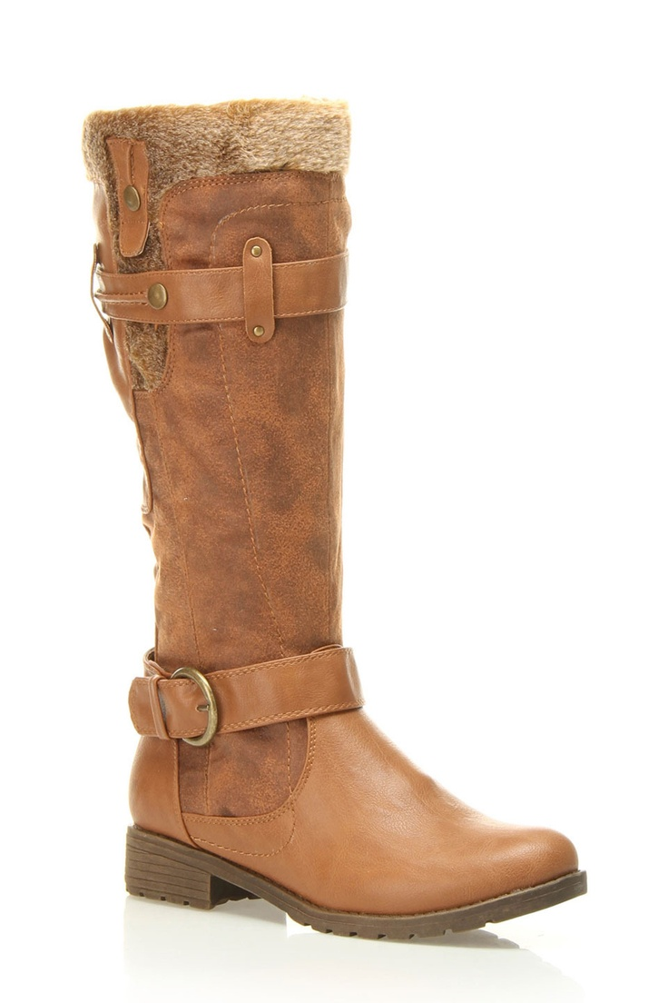 Tatum Faux Fur Trimmed Boot In Cognac