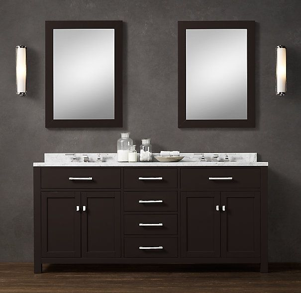 Hutton double vanity sink double restoration hardware for Restoration hardware bathroom cabinets