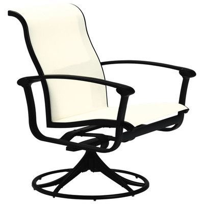 Tropitone Ovation Sling Swivel Rocking Chair Finish: Parchment, Fabric: Sparkling Water