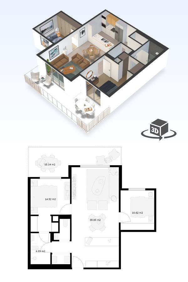 2 Bedroom Apartment Floor Plan In Interactive 3d Get Your Own 3d Model Today At Http Planto3d Apartment Layout Small Apartment Floor Plans Condo Floor Plans