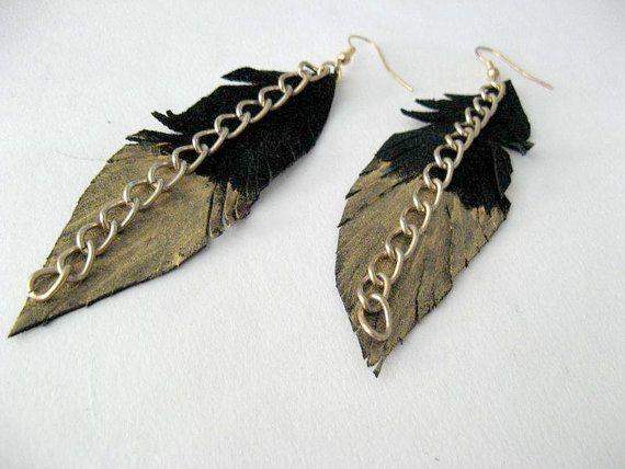 Feather earrings, boho chic earrings Leather feather jewelry/black feather earrings/black leather bohemian earrings/statement earrings light