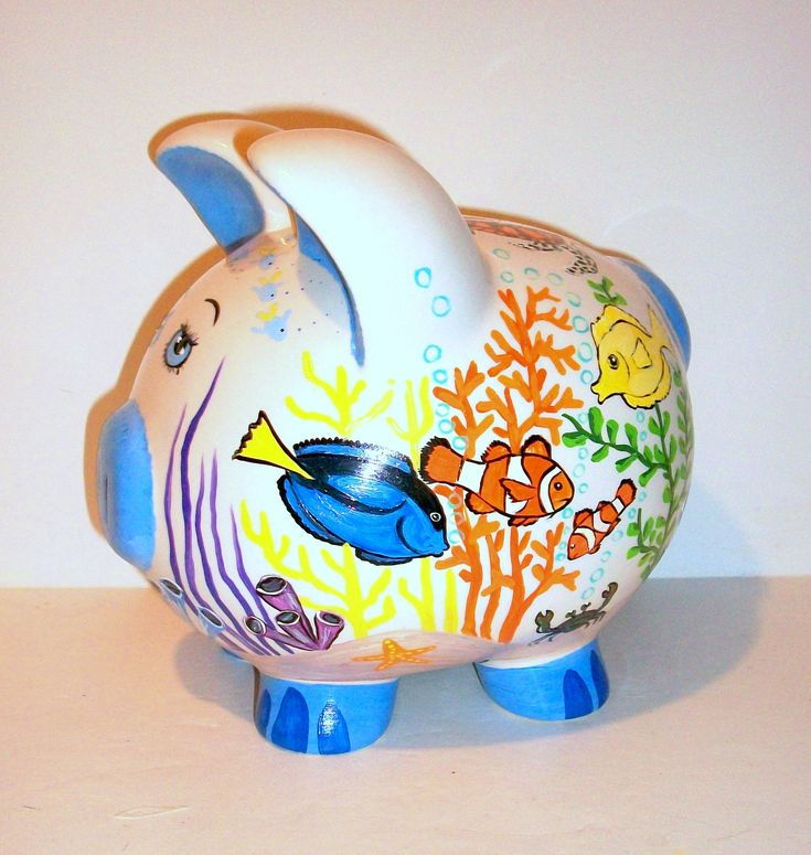 Ceramic Piggy Bank Large Hand Painted Under The Sea Tropical Fish Octopus, Clown Fish, Sea Turtle, Snail Star Fish Banks for Boys and Girls by SharonsCustomArtwork on Etsy