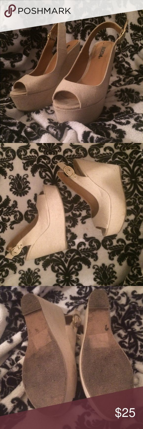 Wedge sandals Creme/tan wedged sandal with gold buckle on the heel strap Soda Shoes Sandals