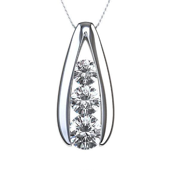 7 best pendant settings images on pinterest pendant pendants and three diamond pendant with 110ctw in 14k white gold aloadofball Images