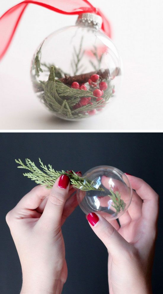Jazz up a simple glass bauble into a beautiful, Christmassy decorative piece. Just add in some fir and faux berries! #DIY #Christmas