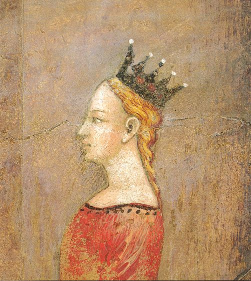 Ambrogio Lorenzetti - Corteo nuziale, particolare la sposa (Gli Effetti del Buono Governo in città) - affresco - 1338-1339 - Siena - Palazzo Pubblico, Sala dei Nove o Sala della Pace
