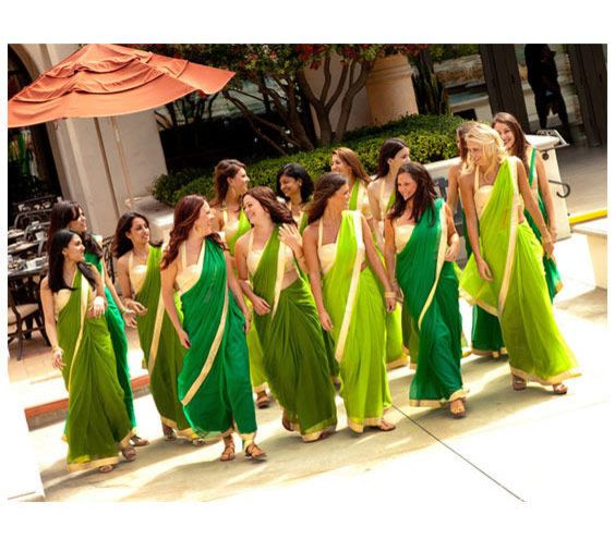 Bridesmaid Saris. Simple, but cute! Definitely in a different color. Maybe corresponding with the colors of the wedding?