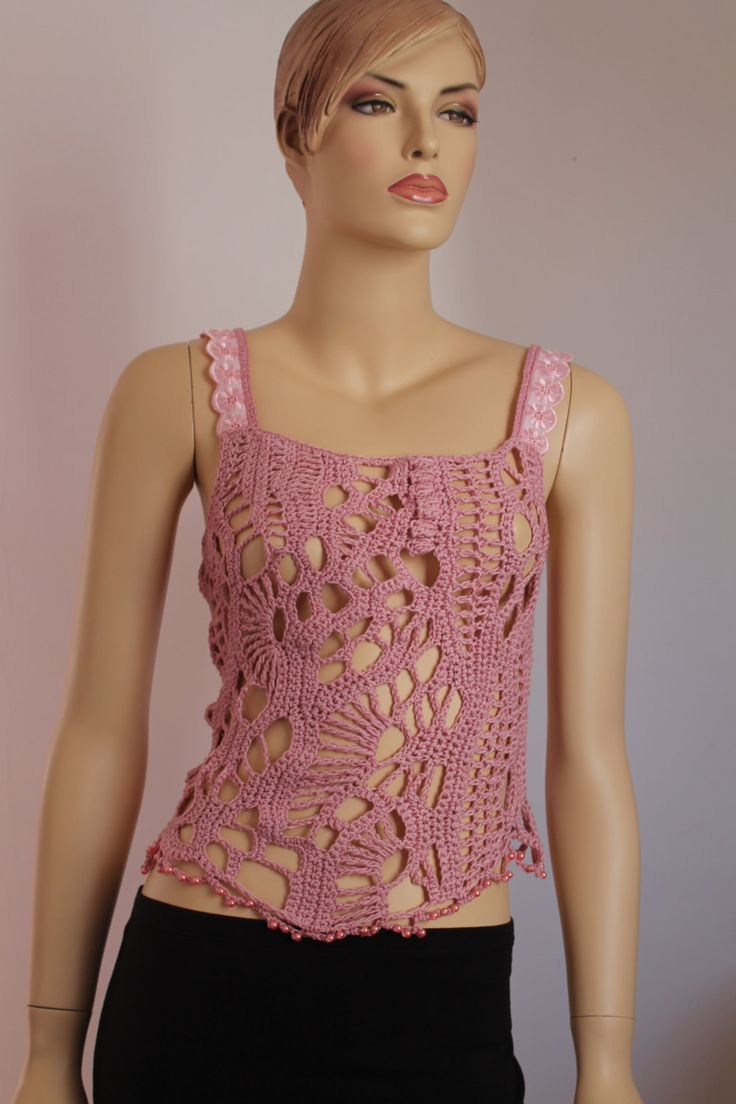Dusty Pink Cotton Freeform Crochet Tank Top by levintovich