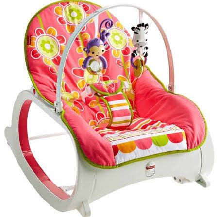 Fisher-Price Infant-to-Toddler Rocker - floral confetti  It starts out as an infant seat or rocker with bat-at entertainment overhead. Then, as your child grows, you can easily remove the toy bar and convert it to a toddler rocker, for children up to 40 lbs. Use from infant to toddler (up to 40 lbs./18 kg). Convenient feeding, playing or resting space for baby