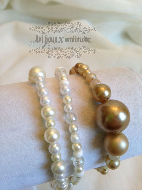 Great classic bracelet trio by Bijoux Attitude on etsy -- #rocker #classic #mixandmatch
