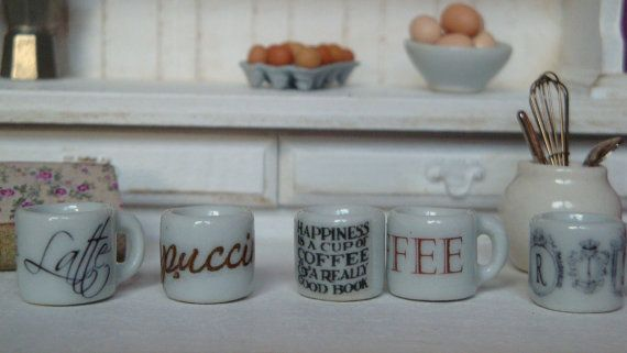 Dollhouse ceramic traditional mugs in by Twelvetimesmoreteeny, €2.10