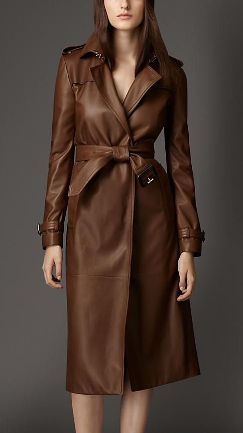 Dark umber brown Lambskin Wrap Trench Coat - Image 1                                                                                                                                                     More