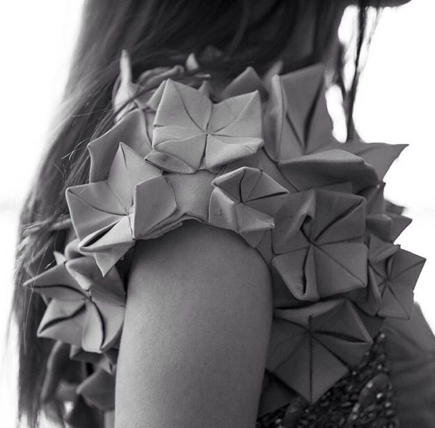 Origami Sleeves - cool use of fabric manipulation to create 3D folded textures - origami fashion; innovative textiles