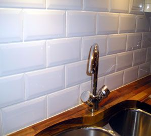 Metro white brick this range of kitchen wall tiles has a - White kitchen brick tiles ...