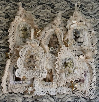 Gothic ornaments inspiration - made from fabric, lace and muslin, vintage pics, lots of buttons