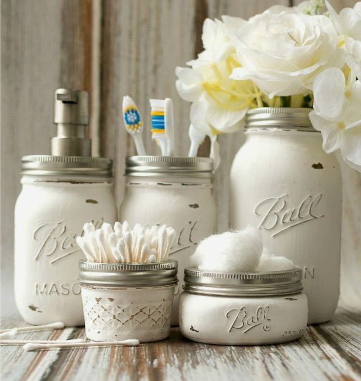 Five+piece+white+distressed+mason+jar+bathroom+set+includes:+toothbrush+holder,+soap+dispenser,+q-tip+holder,+cotton+ball+holder,+and+vase+or+misc+holder.  Hand+wash+only+with+mild+soap.  **This+set+is+made+to+order.+Please+allow+one+week+for+creation+and+shipment.+  If+you+have+any+questio...