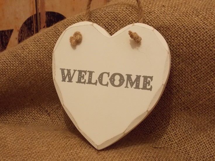 Rustic Style Wooden Welcome Hanging Heart Plaque, £2.25
