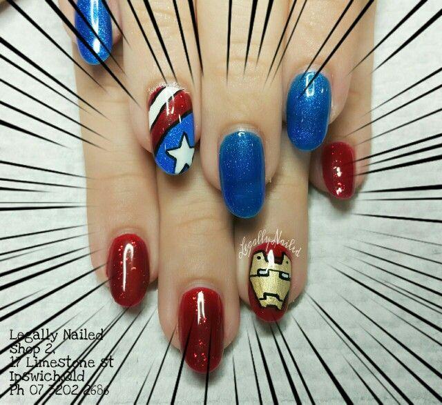 Captain america iron man nail art