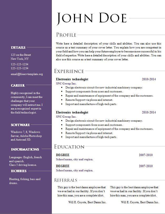 Cv Template Office #cvtemplate #office #template | Resume ...