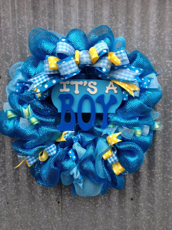 Its A Boy Deco Mesh Wreath By Ribbonsandtin On Etsy