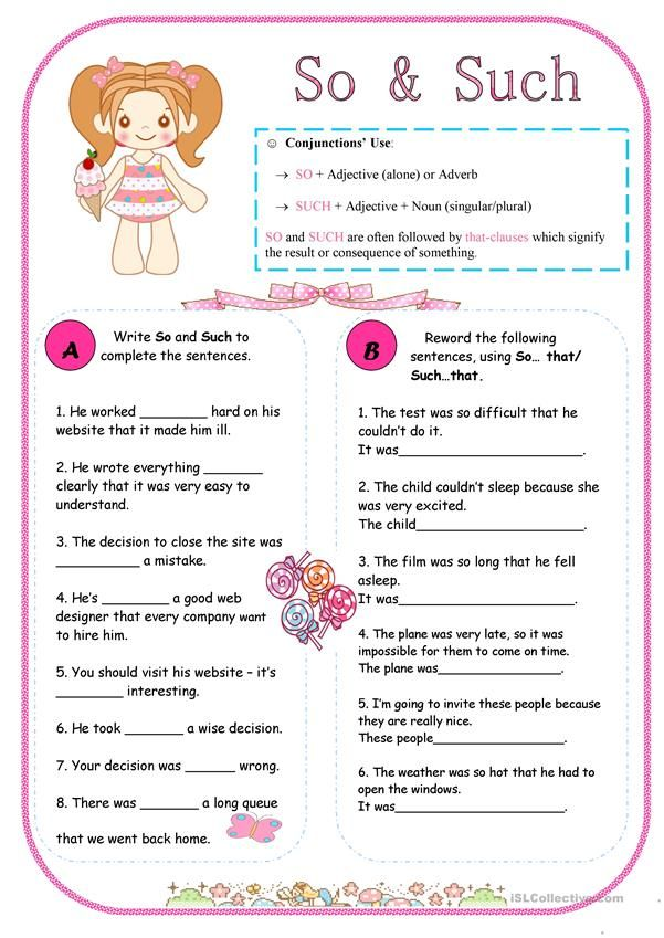 So & Such Nouns And Adjectives, Confusing Words, Grammar Worksheets