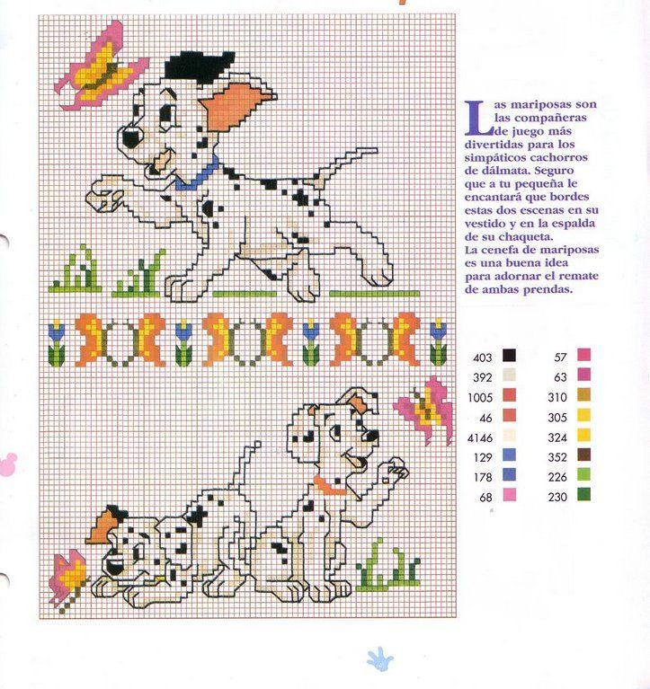 101 Dalmations cross stitch pattern